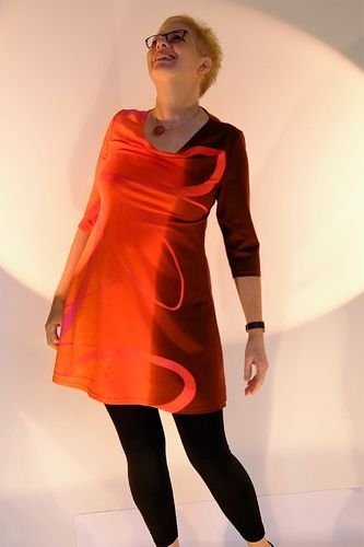 "Kleid ""gradiente"" in bordeaux/orange"